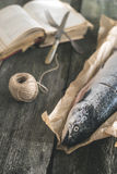 Raw salmon fish on vintage wooden table Royalty Free Stock Image
