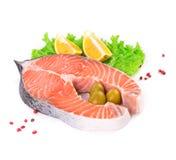 Raw salmon with garnish. Stock Images
