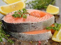 Raw salmon with herbs and spices Royalty Free Stock Photography