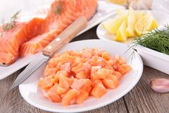 Raw salmon and ingredient Royalty Free Stock Image