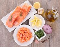 Raw salmon and ingredient Stock Photos