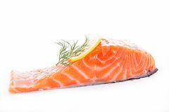 Raw salmon. Isolated on white Royalty Free Stock Image
