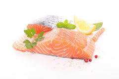 Raw salmon. Isolated on white Stock Photography