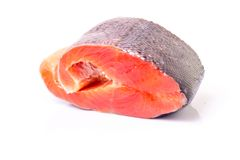 Raw Salmon isolated on White Background Royalty Free Stock Photography