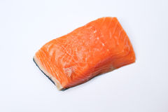 Raw salmon isolated on white. Close up of raw salmon isolated on white Royalty Free Stock Photography