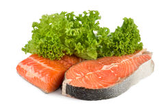 Raw salmon and lettuce Royalty Free Stock Photo