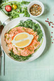 Raw salmon preparation in white pan with herbs and spices. Top view, frame Royalty Free Stock Images