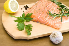 Raw salmon prepared for cooking Stock Image