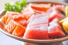 Raw salmon and raw tuna sashimi Royalty Free Stock Image