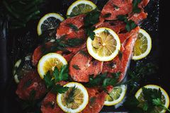 Raw salmon red fish steak with herbs and lemon on black background. Salmon raw salmon red fish steak with herbs and lemon on black background Stock Image