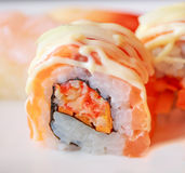Raw salmon roll sushi. A closeup shot of raw salmon roll sushi, a popular japanese food Stock Images