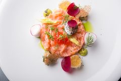 Raw salmon salad. With herbs and spices Stock Photos