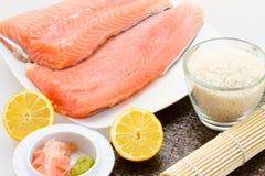 Raw salmon for shishi Royalty Free Stock Photo