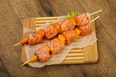 Raw salmon skewer. With spices ready for cooking Stock Photography