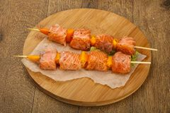 Raw salmon skewer. With spices ready for cooking Stock Images