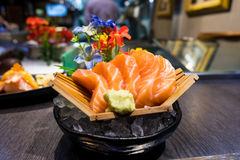 Raw salmon slice or salmon sashimi Royalty Free Stock Photography