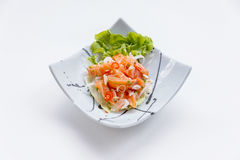 Raw Salmon Spicy Salad in Japanese Painted Ceramic Dish stock photos