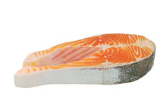 Raw salmon steak. Isolated on white Stock Photography