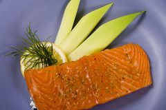 Raw salmon steak. 2 Stock Image