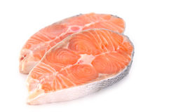 Raw salmon steak Royalty Free Stock Image