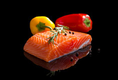 Raw salmon. Royalty Free Stock Photography