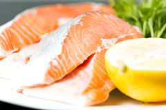 Raw salmon steak close up Stock Photos