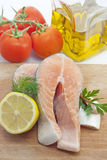 Raw salmon steak closeup Royalty Free Stock Image