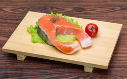Raw salmon steak Royalty Free Stock Photography