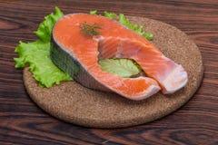 Raw salmon steak Royalty Free Stock Photos