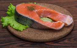 Raw salmon steak Royalty Free Stock Images