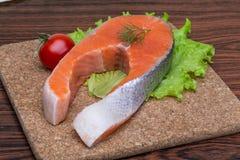 Raw salmon steak Royalty Free Stock Image