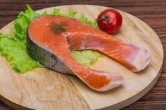 Raw salmon steak Stock Photography