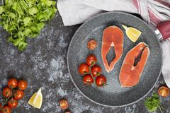 Raw salmon steak with herbs, parsley and lemon. On a dark background Royalty Free Stock Photography