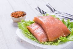 Raw salmon steak royalty free stock images