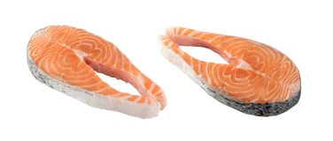 Raw Salmon Steak Isolated. Slice of Raw Salmon Steak Isolated on White Background. Thick Piece of Fresh Red Fish or Trout with Clipping Path Royalty Free Stock Images