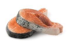 Raw Salmon Steak Isolated. Slice of Raw Salmon Steak Isolated on White Background. Thick Piece of Fresh Red Fish or Trout with Clipping Path Royalty Free Stock Photography