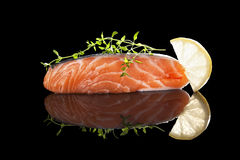 Raw salmon steak. Stock Image