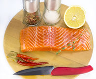 Raw salmon steak. With lemon and spices on a cutting board Royalty Free Stock Photography