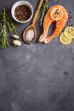 Raw salmon steak ready to cook Stock Photography