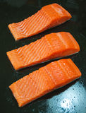 Raw salmon steak red fish Royalty Free Stock Images