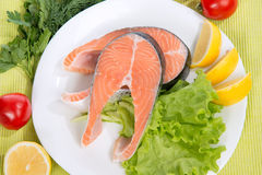 Raw salmon steak red fish on a plate Royalty Free Stock Image
