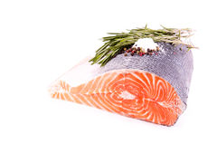 Raw salmon steak with rosemary Stock Photo