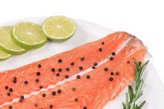 Raw salmon steak with rosemary. Stock Photography