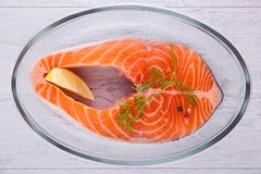Raw salmon steak. Studio shot Royalty Free Stock Photos