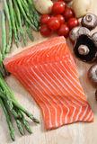Raw salmon steak vertical Stock Images