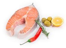 Raw salmon steak Stock Photo