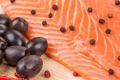 Raw salmon steak. Stock Photos