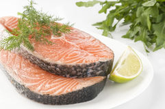 Raw Salmon Steak With Herbs Stock Photography