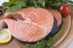 Raw Salmon Steak With Herbs Stock Images