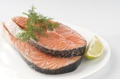 Raw Salmon Steak With Herbs Royalty Free Stock Photos